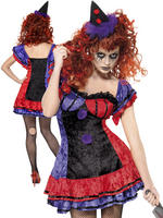 Ladies Cirque Sinister Bo Bo The Clown Costume