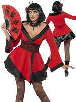 Ladies Gothic Geisha Woman Costume