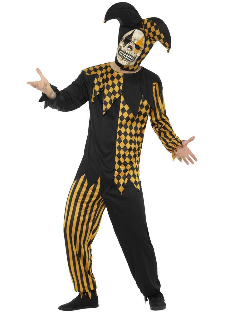 men 39 s evil court jester costume all halloween fancy dress hub. Black Bedroom Furniture Sets. Home Design Ideas