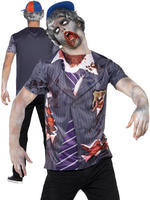 Mens Zombie School Boy T-Shirt And Cap