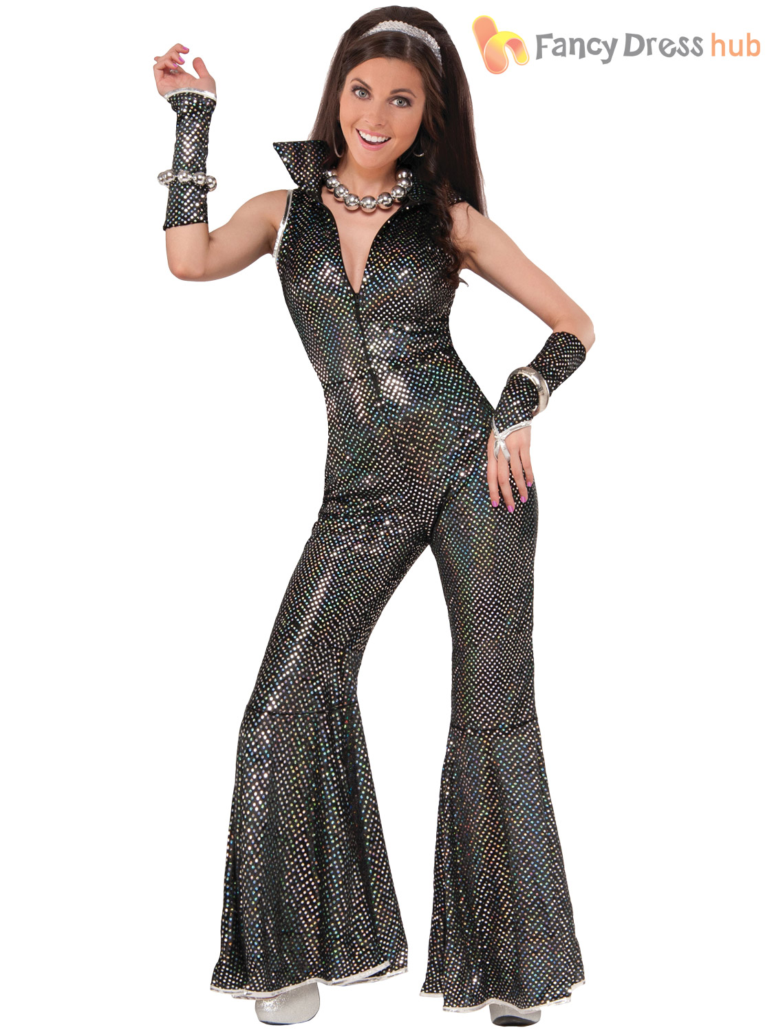 Ladies 70s disco jumpsuit costume womens groovy diva flare fancy dress outfit ebay - Look disco femme ...