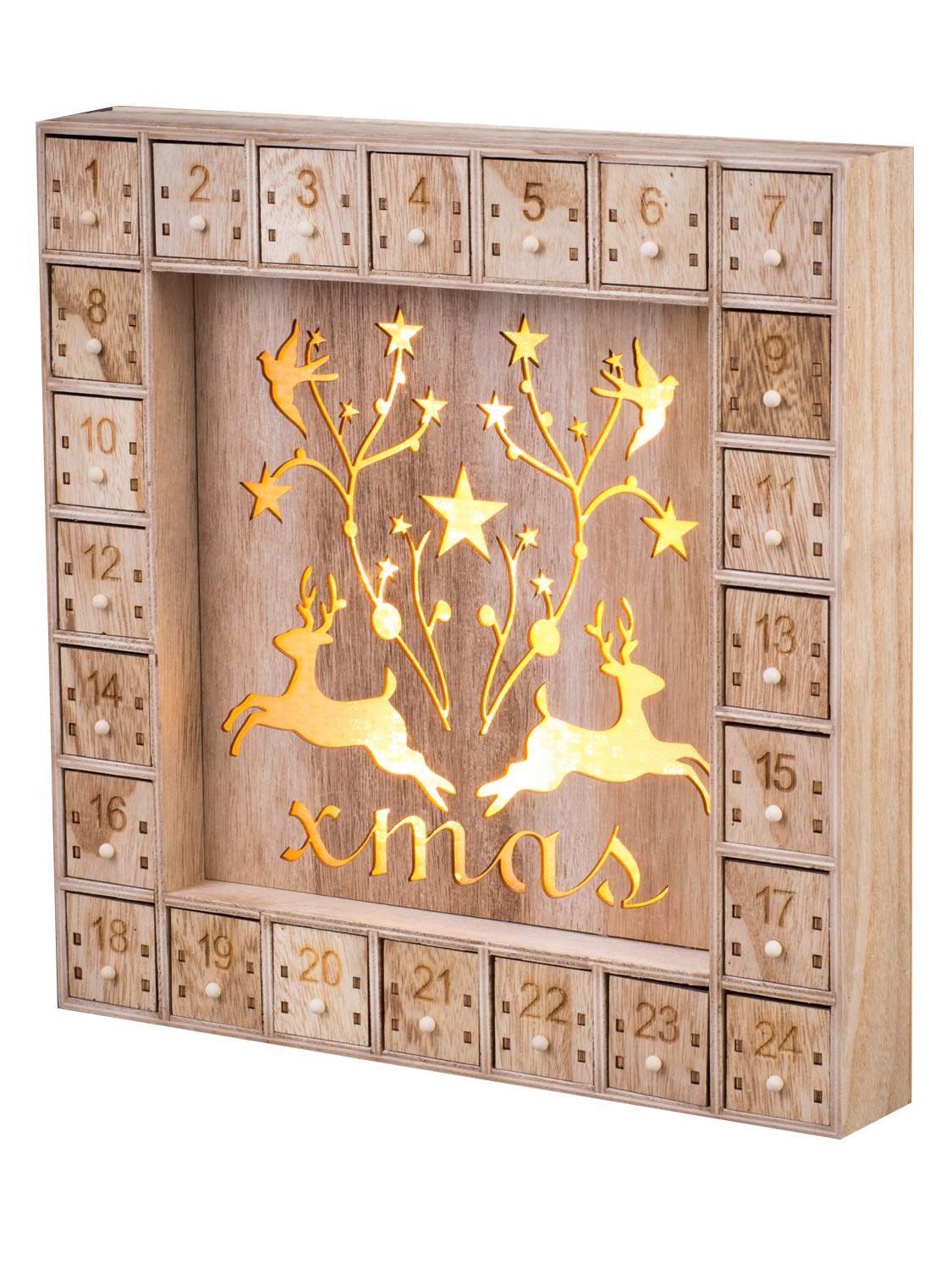 Wooden light up christmas advent calendar led nordic pre How to build a wooden advent calendar