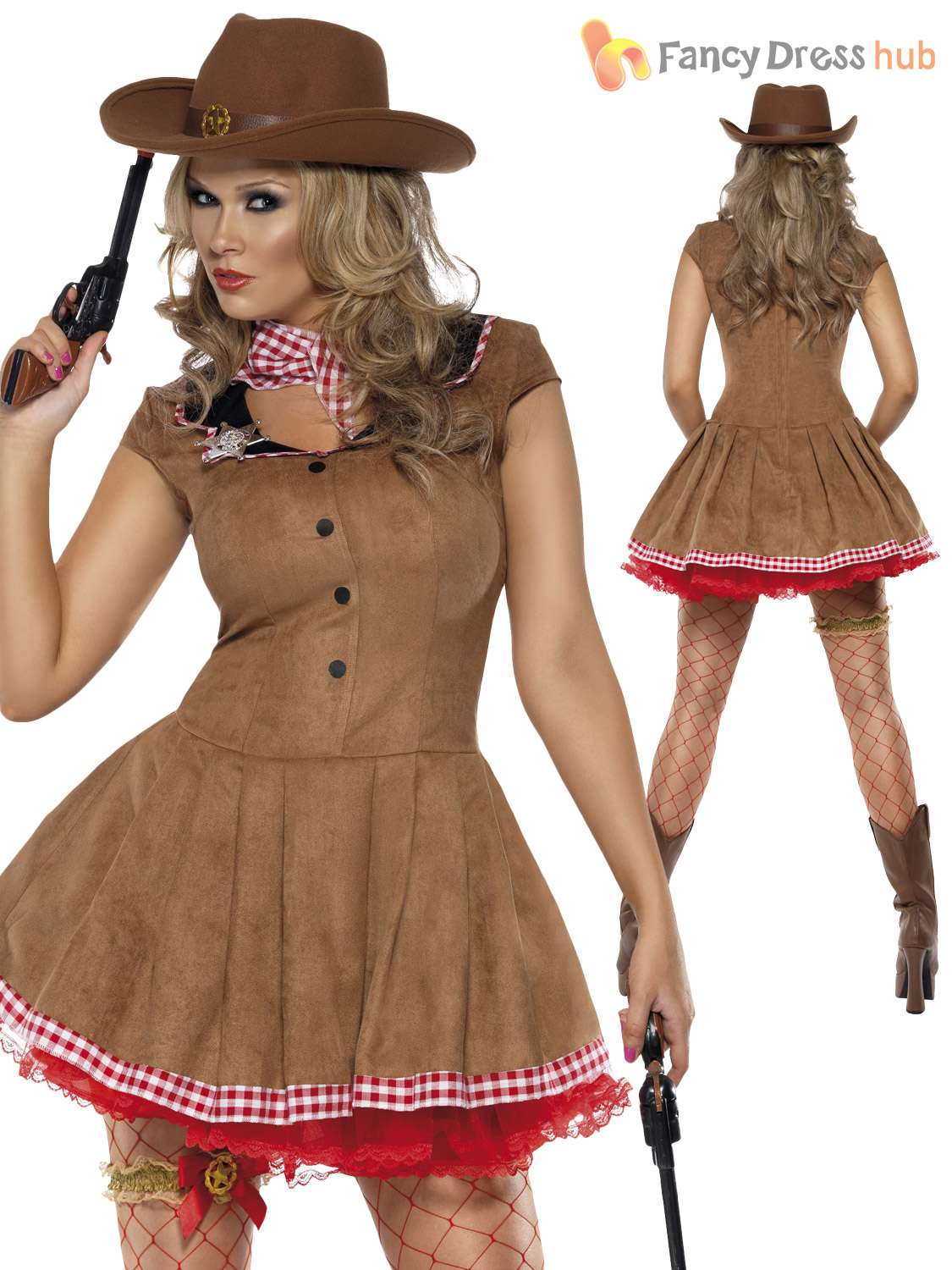 Size 8-18 Adult Ladies Sexy Cowgirl Costume Wild West ...