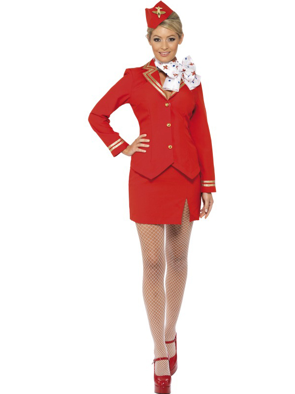 Womens-Sexy-Air-Hostess-Stewardess-Cabin-Crew-Ladies-Fancy-Dress-Costume-Uniform
