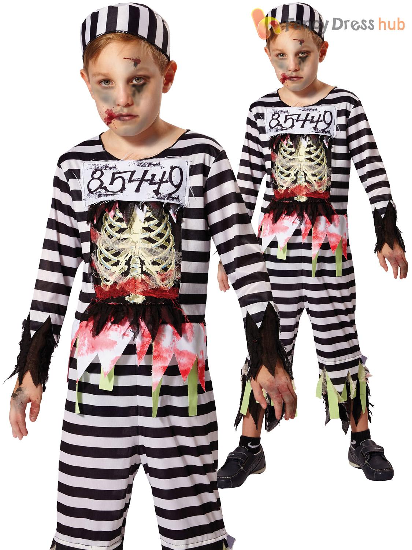 Boys Skeleton Prisoner Costume Zombie Convict Halloween Fancy Dress Kids Outfit