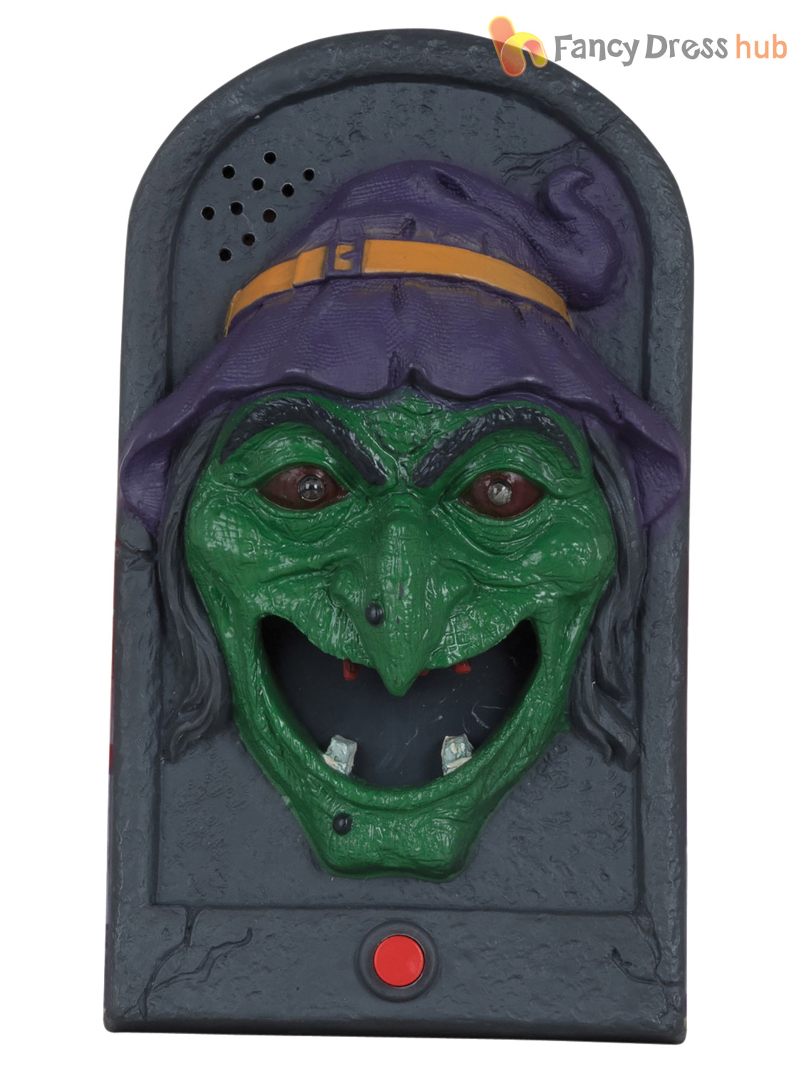 Animated halloween doorbell with moving tongue witch skull for Animated halloween decoration