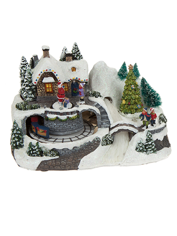 Animated village scene led train house christmas for Animated decoration