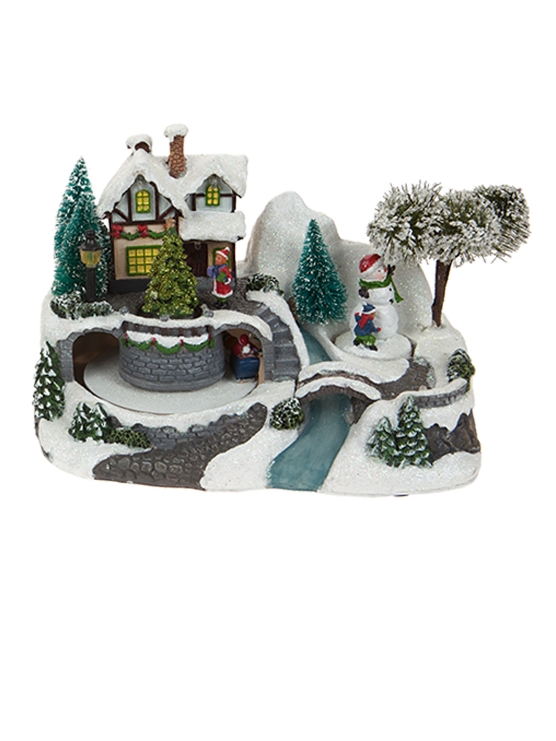 Animated village scene led train house christmas for Animation decoration noel