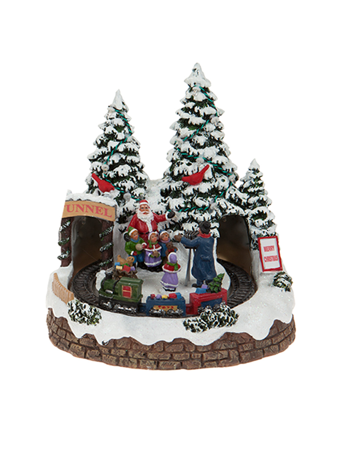 Animated village scene led train house christmas