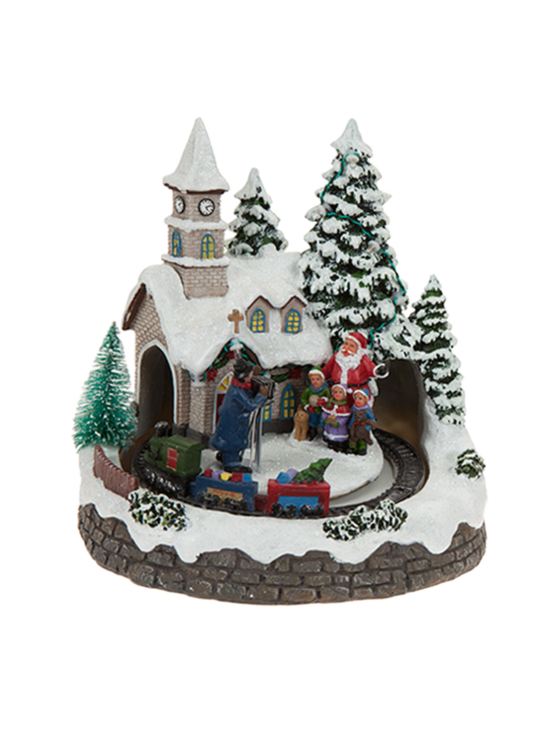 Animated village scene led train house christmas for Animated christmas decoration