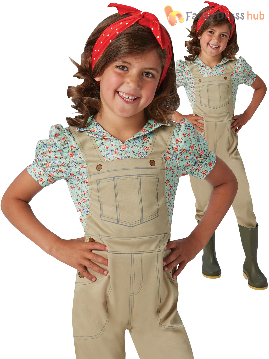 Girls Land Girl Costume Childs History Fancy Dress Kids Book Week Day Outfit
