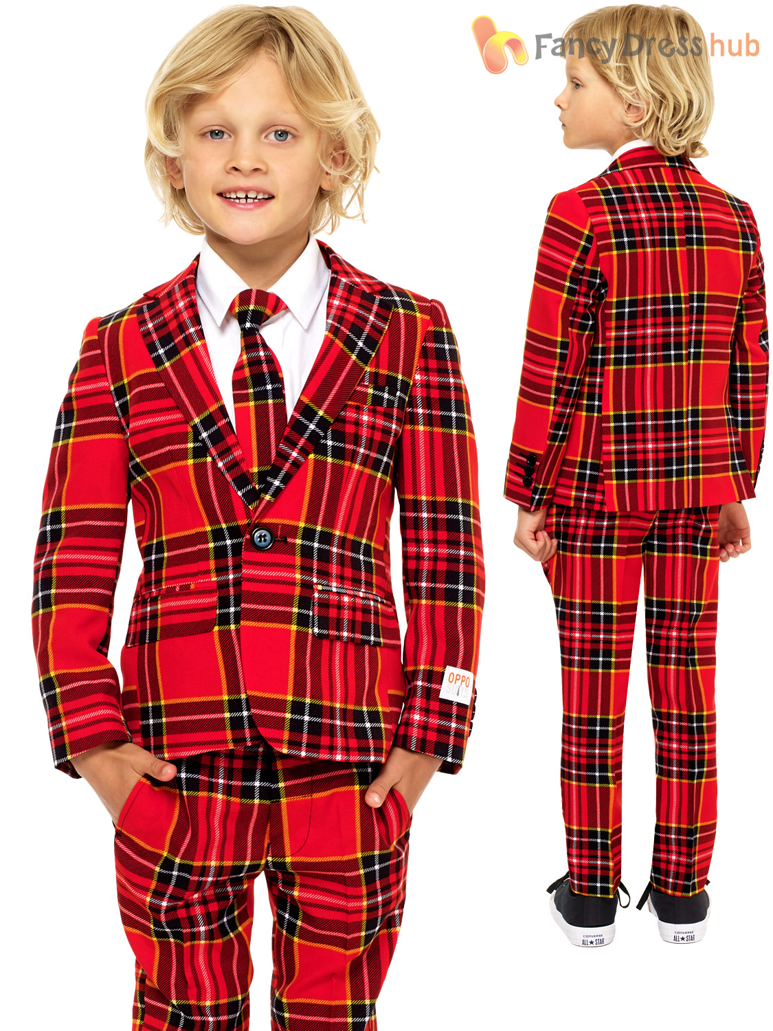 Childs Deluxe Christmas Opposuit Boys Xmas Festive Oppo Suit Fancy Dress Costume
