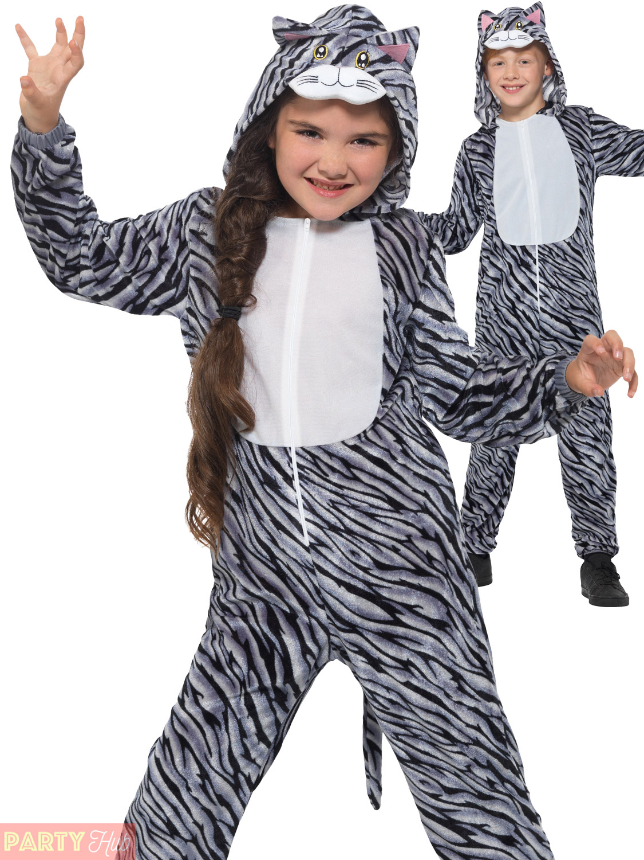 Tabby Cat Costume Girls Boys Animal Fancy Dress Kids Book Week Day McTat Mog