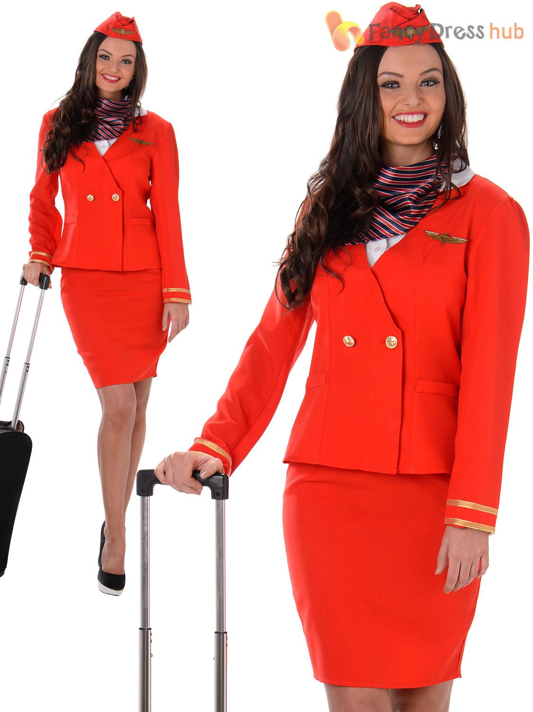 Ladies Flight Attendant Costume Adults Air Hostess Fancy Dress Womens Uniform
