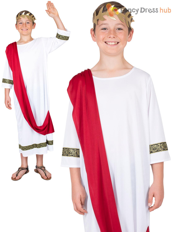 Boys Roman Toga Greek Costume Empreror God History Fancy Dress Kids Outfit