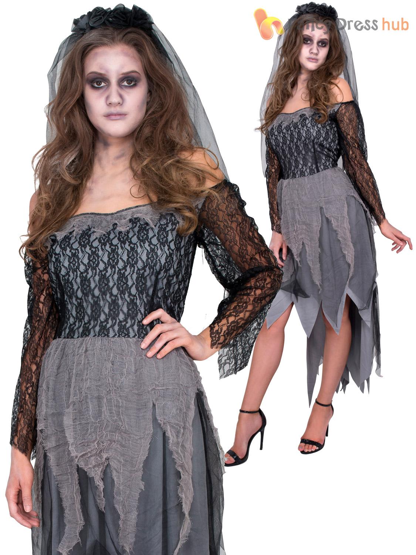 Ladies Ghost Zombie Corpse Bride Costume Adults Halloween Fancy Dress Womens