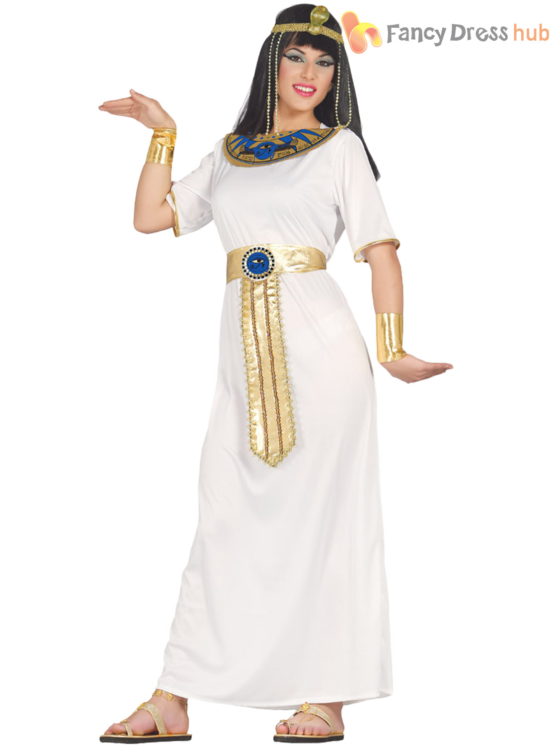Ladies Cleopatra Costume Egyptian Toga Fancy Dress Womens Ancient Greek Outfit