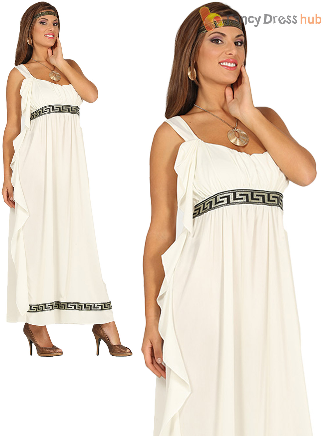 Ladies Grecian Goddess Costume Adults Roman Greek Fancy Dress Womens Outfit