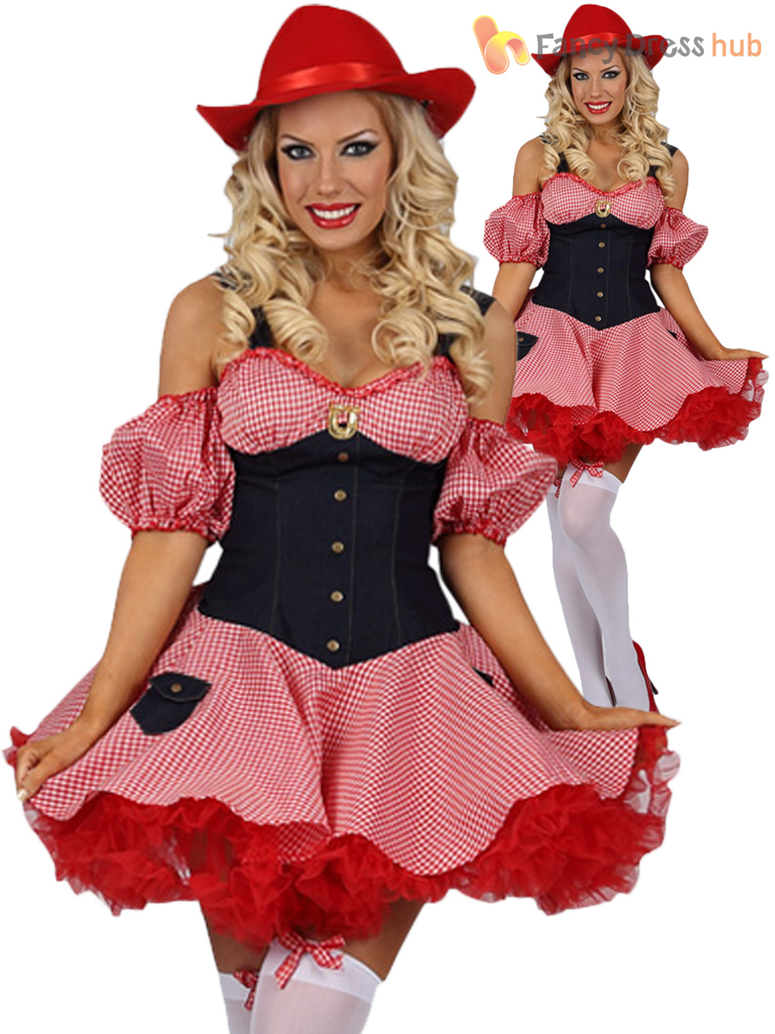 Ladies Country Cowgirl Costume Dolly Parton Fancy Dress Cowboy Western Outfit
