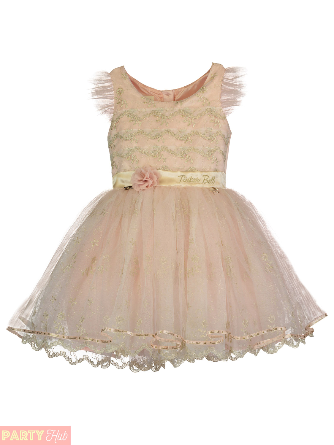 Girls Deluxe Embroidered Tinkerbell Dress Childs Travis Peter Pan Disney Outfit