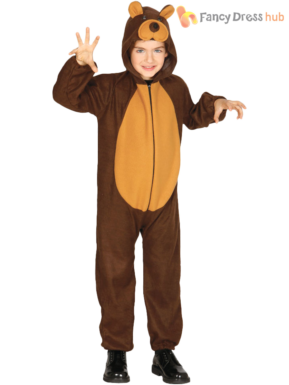 Childs Teddy Bear Costume Boys Girls Animal Fancy Dress Kids Jungle Zoo Outfit