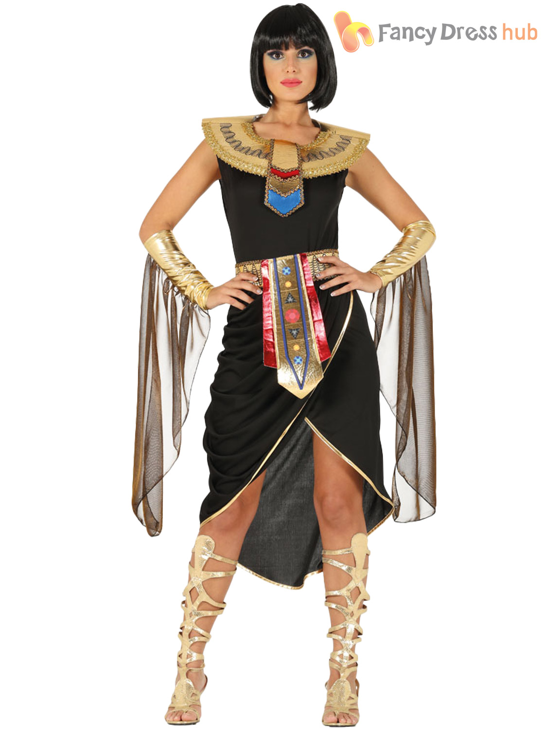 Ladies Cleopatra Queen Costume Adults Egyptian History Fancy Dress Womens Outfit