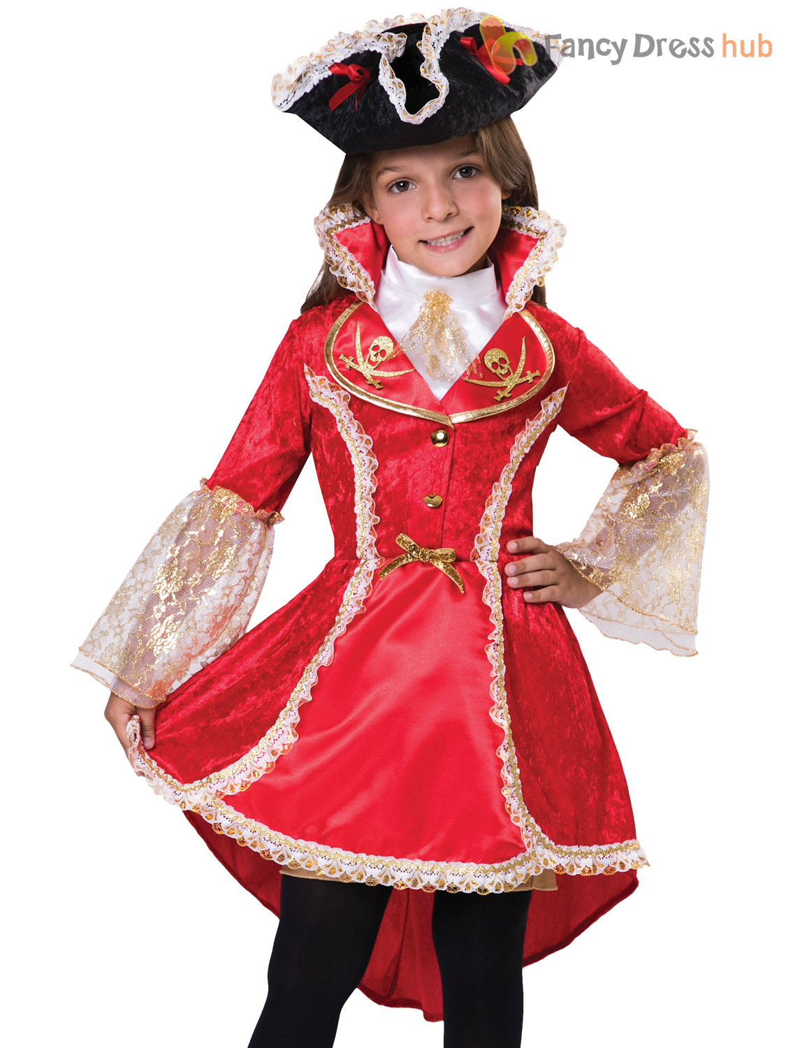 Girls Deluxe Pirate Princess Costume French Spanish Armada Fancy Dress Outfit