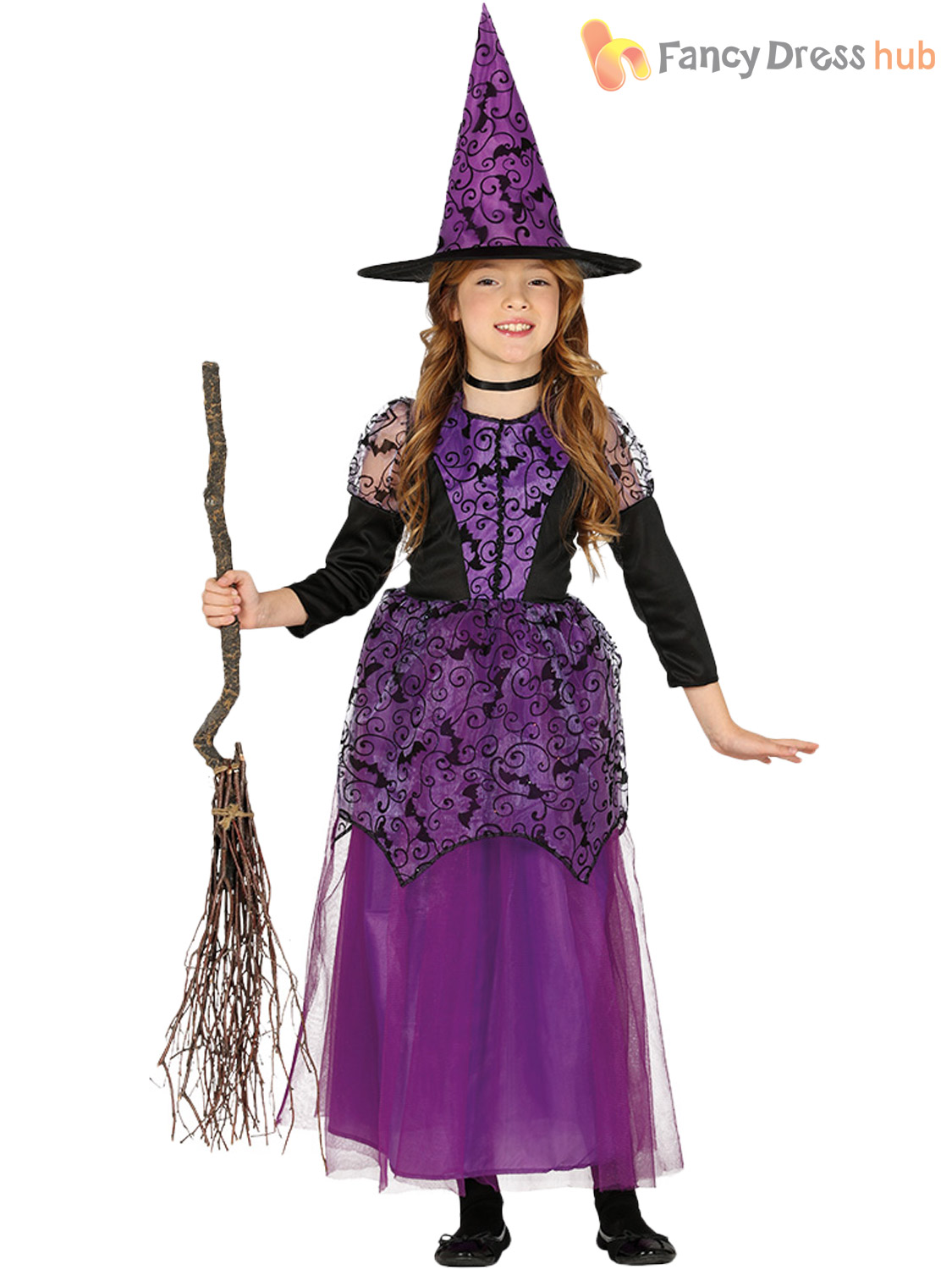Girls Little Purple Witch Costume Child Halloween Fancy Dress Kid Witches Outfit