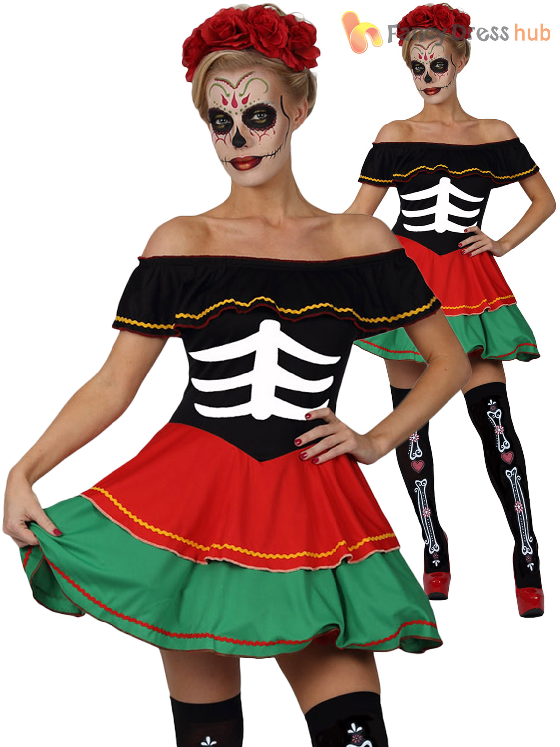 Mesdames Day of the Dead Costume Adulte Halloween Squelette Déguisement Femmes Costume