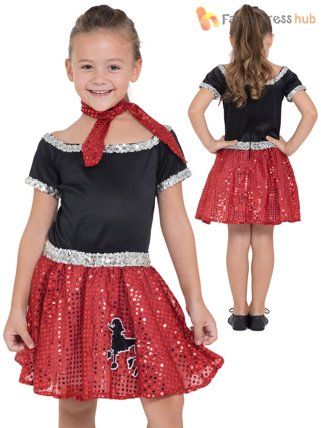 Girls Rock N Roll Red Sequin Costume Child Retro 50s 60s Fancy Dress Kids Outfit