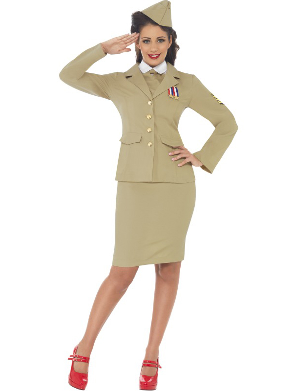 Ladies-Wartime-Officer-Army-Military-Fancy-Dress-Costume-Ww2-1940S-American-Gi