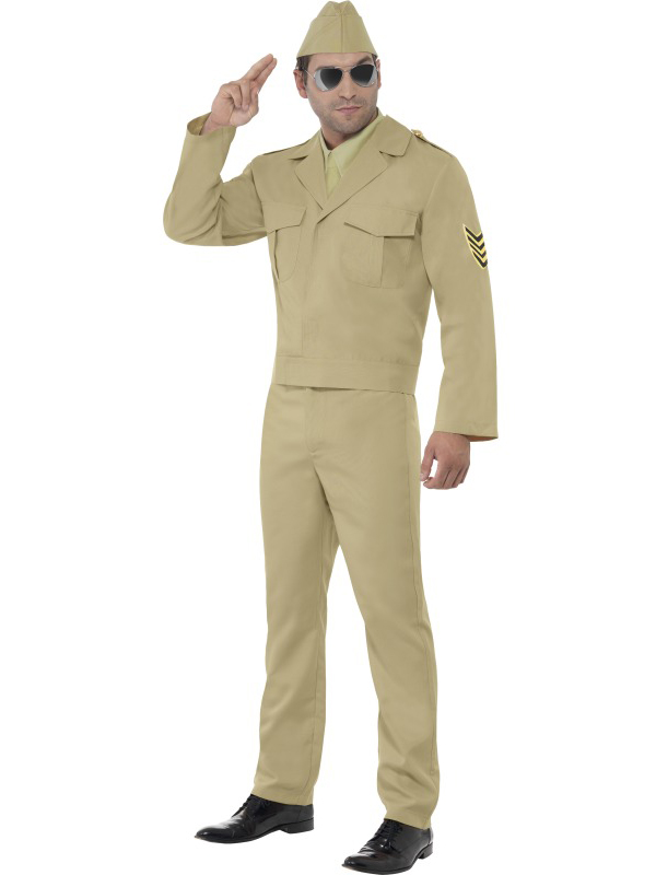 Armed-Forces-Mens-WW2-Fancy-Dress-American-GI-USA-Soldier-Military-40s-Uniform