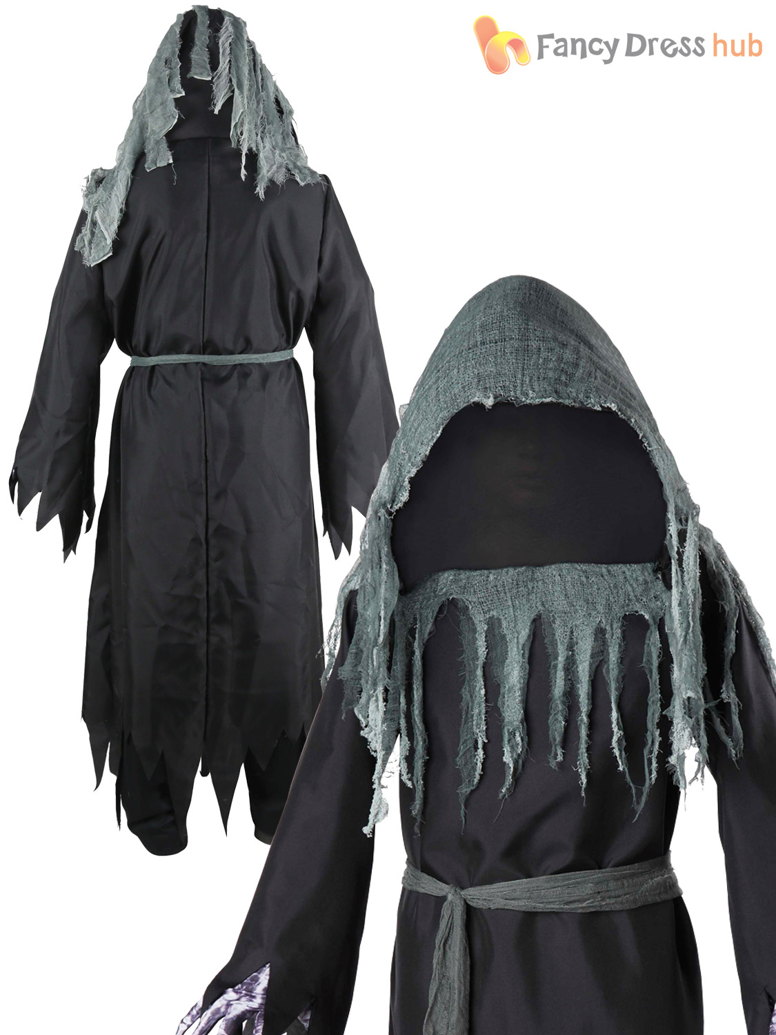 Mens Shrouded Phantom Costume Light Adults Ghoul Halloween Fancy Dress Outfit