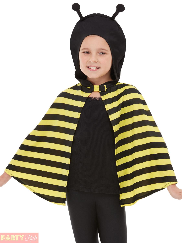 Kids Bumblebee Ladybird Bug Insect Fancy Dress Hooded Cape Costume Girls