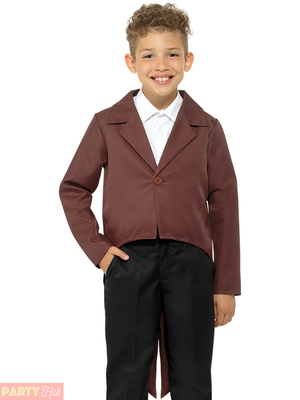Childs Brown Tailcoat Boys Girls Urchin Poor Victorian Fancy Dress Book Day Week