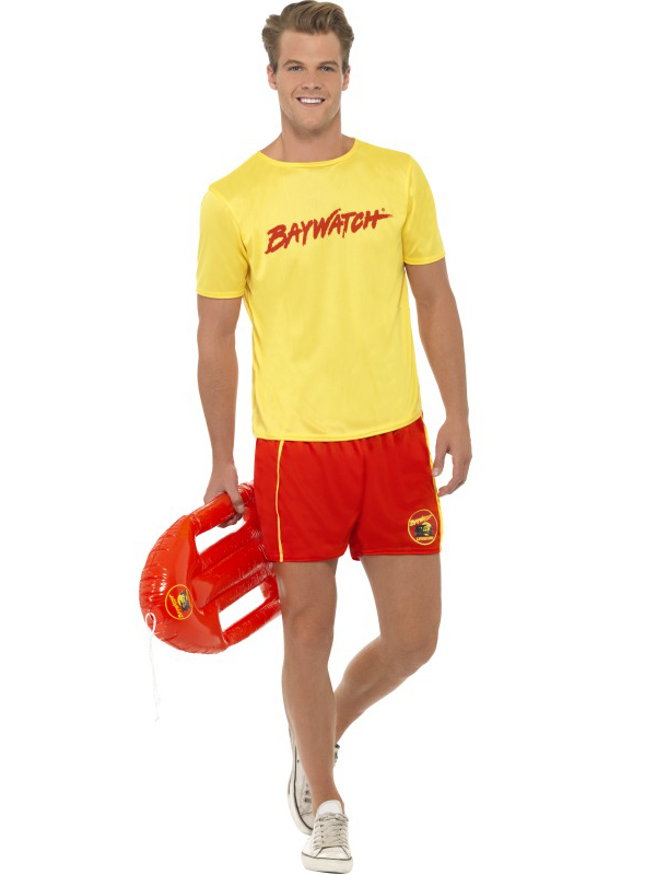 Mens Baywatch Lifeguard Sports Uniform Fancy Dress 90S Tv Stag Party