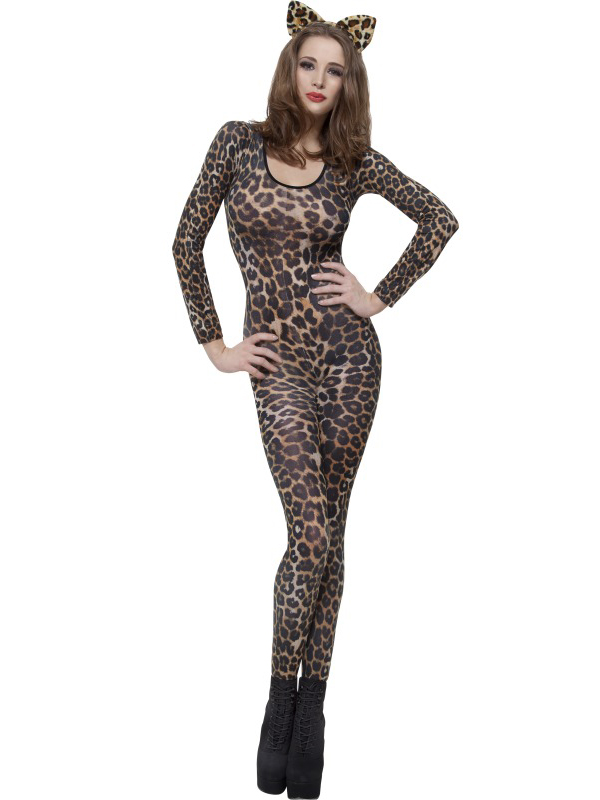 Adult-6-14-Bodysuit-Skin-Catsuit-Sexy-Ladies-Fancy-Dress-Costume-Animal-Army