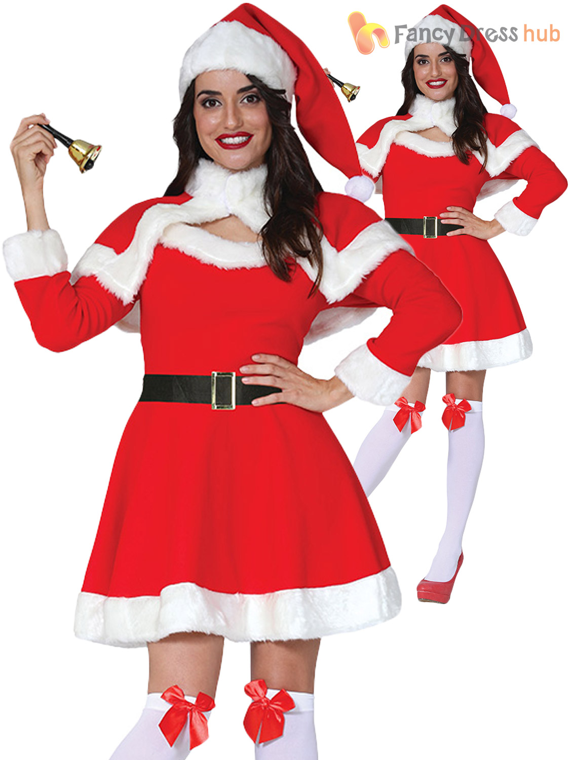 Ladies Mrs Claus Miss Santa Costume Father Christmas Fancy Dress Womens Outfit