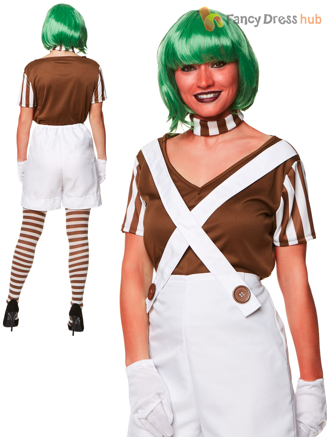 Ladies Lady Factory Worker Costume Adult Oompa Loompa Fancy Dress Charlie Outfit