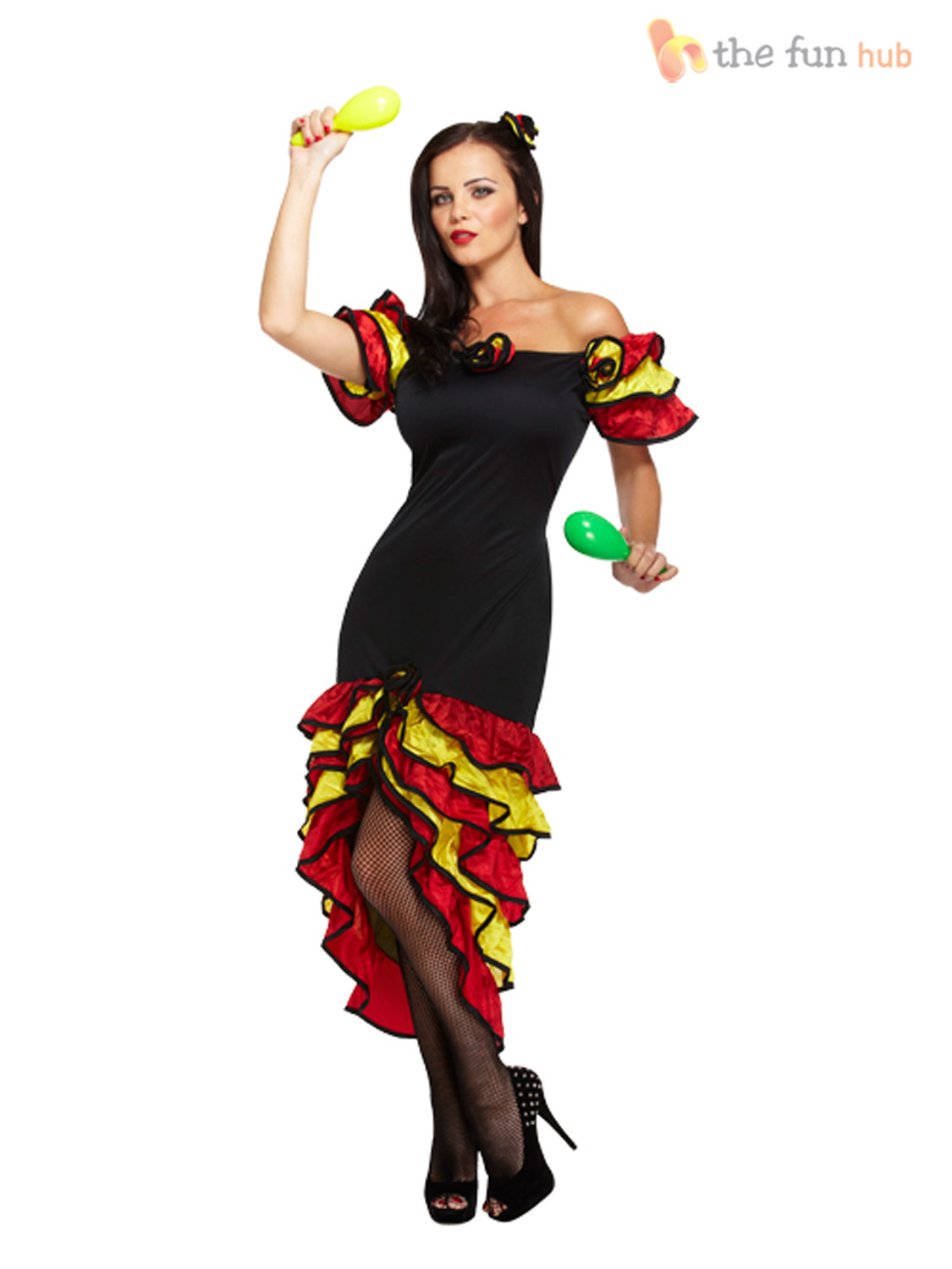 Ladies-Spanish-Flamenco-Fancy-Dress-Rumba-Salsa-Mexican-National-Dancer-Costume