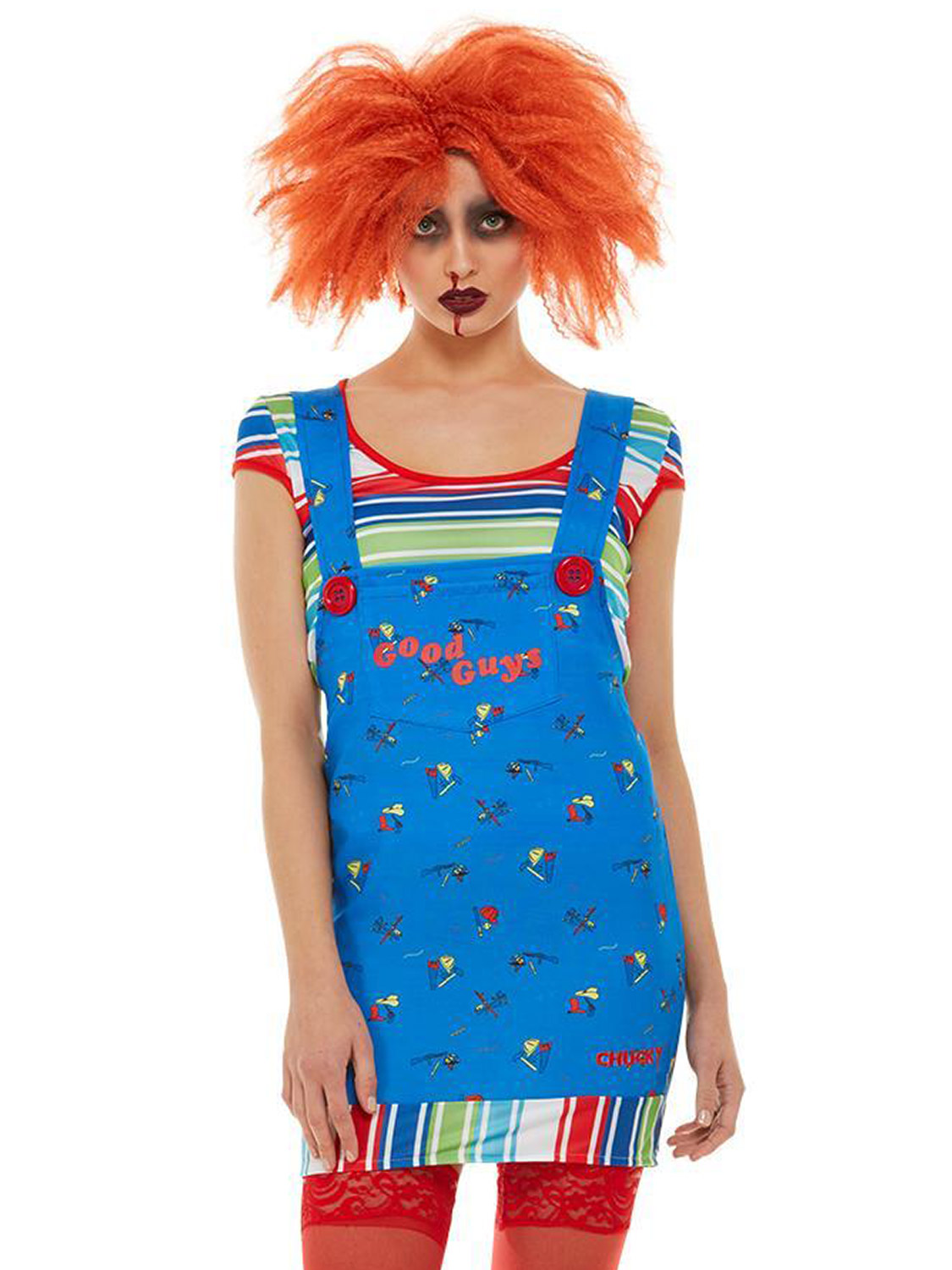 Adult Chucky Costume Mens Ladies Killer Doll Halloween Horror Fancy Dress Outfit