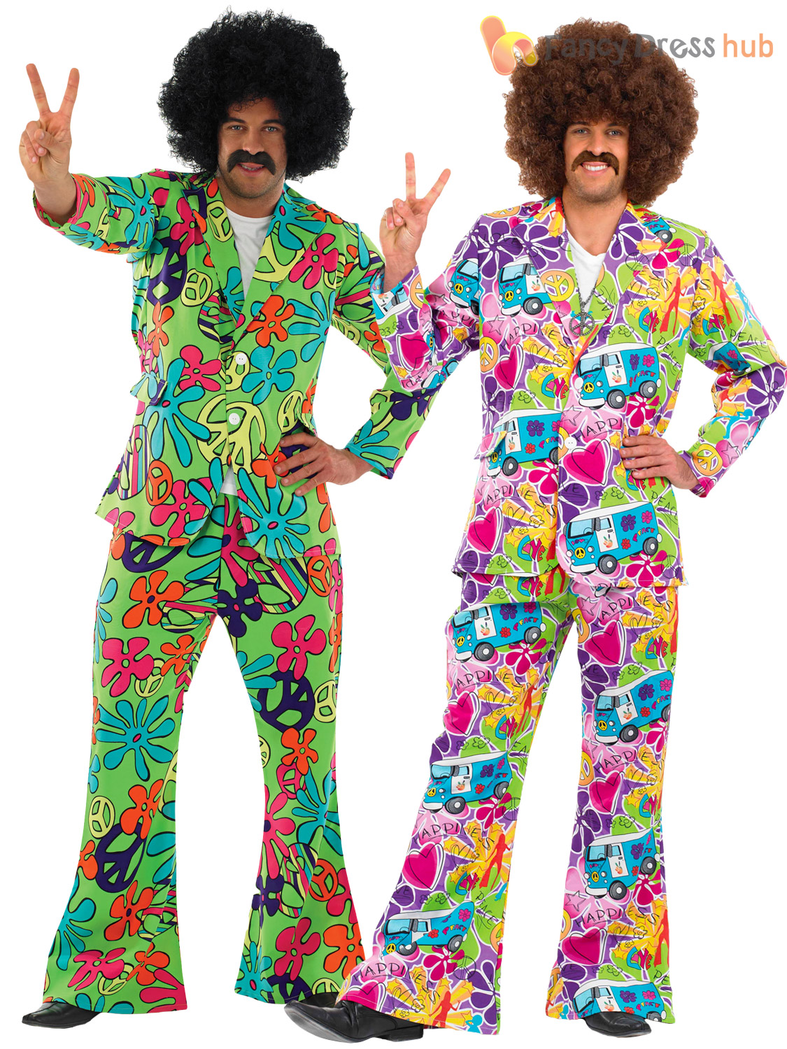 Mens Adult 60s 70s Hippie Hippy Psychedelic Suit Fancy Dress Costume With Flares Ebay