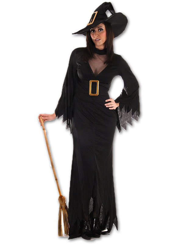 Sexy-Witch-Costume-Black-Dress-with-Hat-Halloween-Costume-Women-039-s-Size-36-42