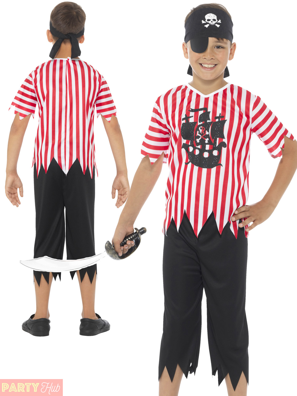 Boys Pirate Costume Childs Caribbean Buccaneer Fancy Dress Book Week Outfit Kids