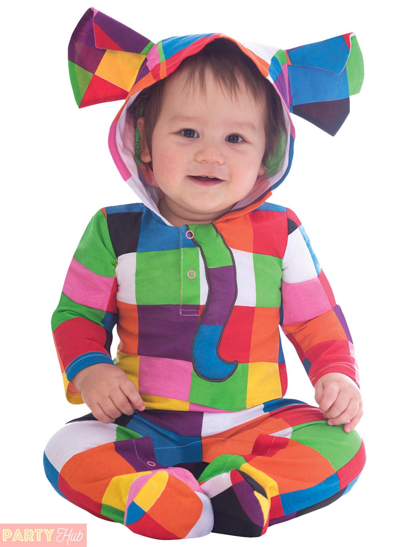 Childs Elmer Costume Boy Girl Ride On Elephant Fancy Dress Kid Book Week Outfit