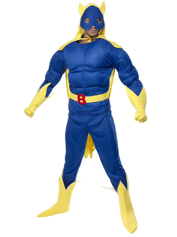 Adults Bananaman Costume 80s Superhero Piggy Back Cartoon TV Outfit Fancy Dress