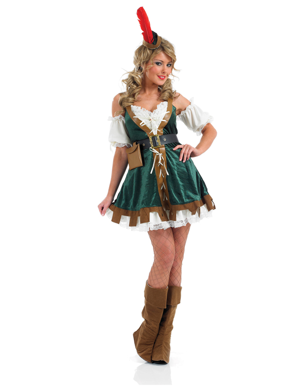 Ladies-Sexy-Robin-Hood-Maid-Marion-Fancy-Dress-Costume-Hat-Fairytale-Medieval