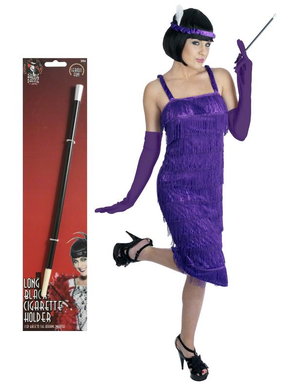 Ladies-1920s-Flapper-Costume-Holder-Gloves-Womens-20-039-s-Charleston-Fancy-Dress