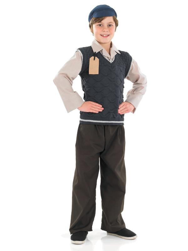 Evacuee boy hat fancy dress ww2 1940s child kids world war 2 costume