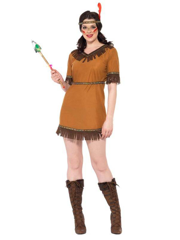 Ladies-Red-Indian-Native-American-Fancy-Dress-Wild-West-Womens-Costume-Outfit